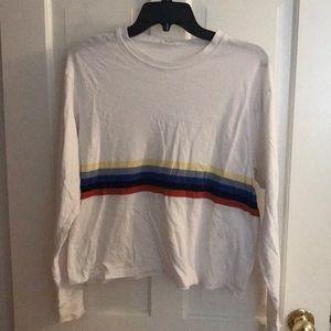 Brandy Melville Long Sleeve Rainbow Stripe Tee